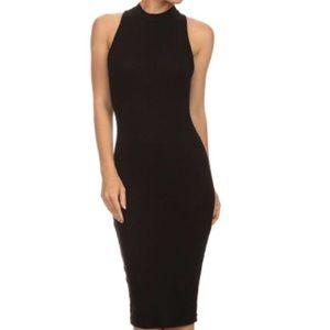 Boston Proper Black Mock Neck Dress